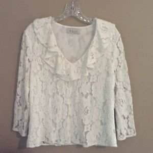 WAYF White Lace Blouse with Ruffled Collar